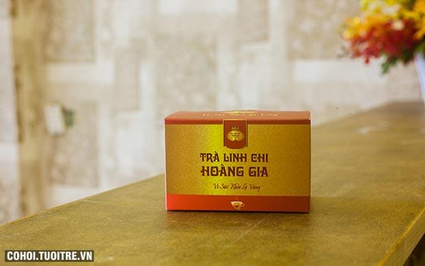 Thiết kế sang trọng của hộp trà linh chi Hoàng Gia túi lọc
