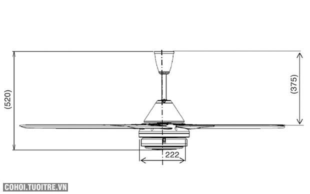 Quạt trần Mitsubishi C56-RQ5 loại 5 cánh có điều khiển