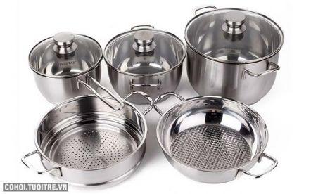 Bộ 5 nồi xửng hấp Fivestar 5C, loại nồi nấu bếp từ