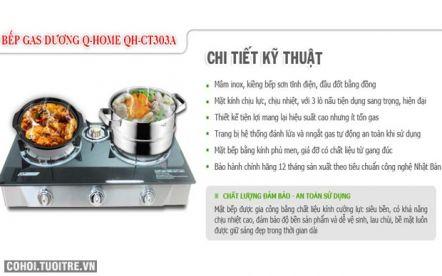 Mừng 08/03, giảm giá bếp gas dương Q-Home QH-CT303A hiện đại