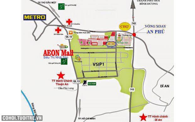 Đất nền dự án Khu đô thị Việt Sing Vsip 1 Bình Dương