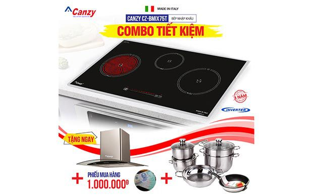 Bếp từ đôi hồng ngoại 3 lò Canzy CZ-BMIX75T