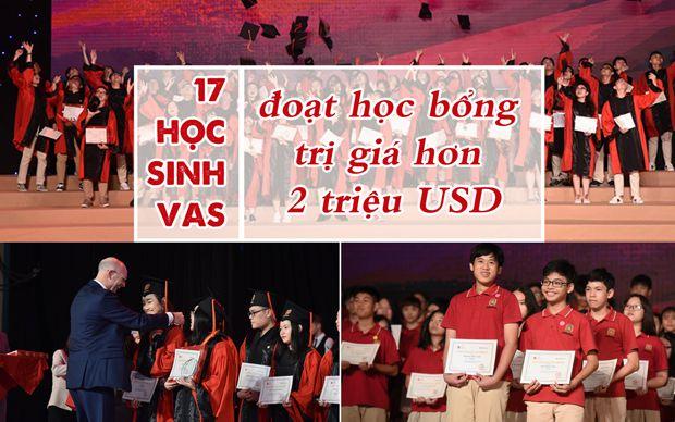 17 học sinh VAS đoạt học bổng trị giá hơn 2 triệu USD
