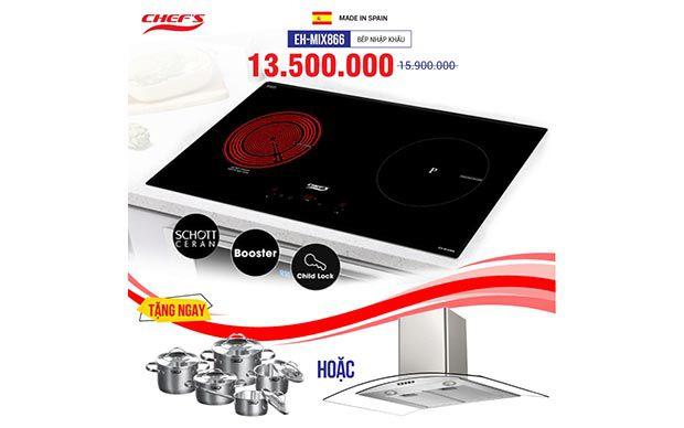 Bếp từ đôi hồng ngoại 2 lò cảm ứng CHEFS EH-MIX866