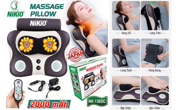 Gối massage đấm lưng, xoa bóp cổ, vai gáy pin sạc Nikio NK-136DC