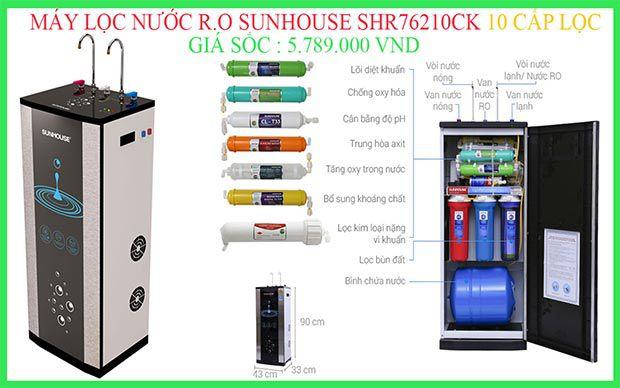 Máy lọc nước R.O nóng lạnh 10 lõi Sunhouse SHR76210CK