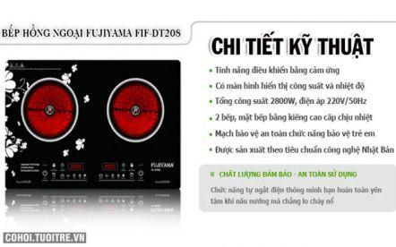 Bếp hồng ngoại đôi an toàn và sang trọng Fujiyama FIF-DT208