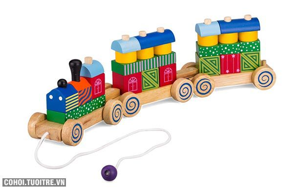 Trò chơi Xe lửa bằng gỗ hoa văn Winwintoy 64272