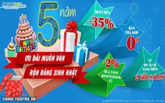 Thế Giới Nệm giảm giá đến 35% mừng sinh nhật 5 năm