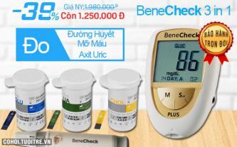 Benecheck Plus - máy đo đường huyết, mỡ máu, acide uric