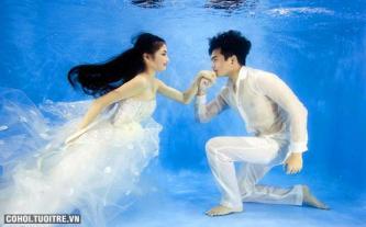 Chụp ảnh cưới dưới nước tại phim trường Lamour