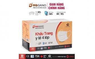 Khẩu trang y tế 4 lớp HQGANO kháng khuẩn, hộp 30 cái