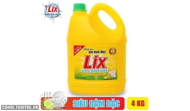 Nước rửa chén Lix đậm đặc hương chanh 4Kg khuyến mãi 69 ngàn