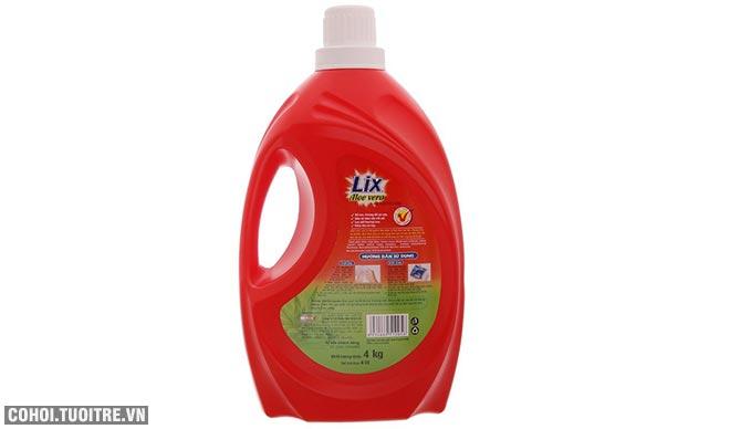 Nước giặt Lix Aloe vera 4Kg bảo vệ da tay