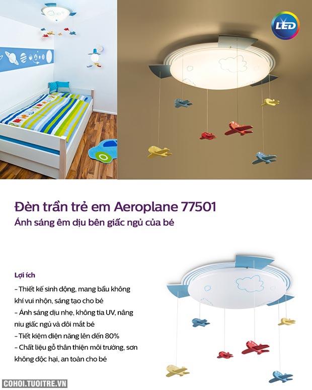 Đèn ốp trần phòng trẻ em Philips LED Aeroplane 77501 22W