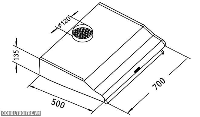 Xả kho máy hút mùi 7 tấc Canzy CZ-2070B giá 1.450.000đ