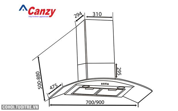 Máy hút mùi bếp kính cong CANZY CZ-70D1