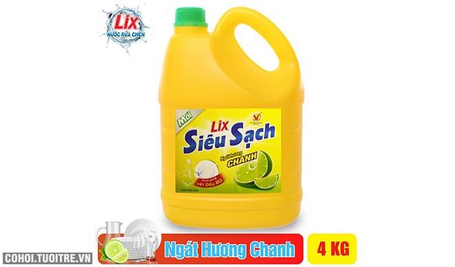 Nước rửa chén Lix siêu sạch hương chanh 4Kg khuyến mãi 55 ngàn