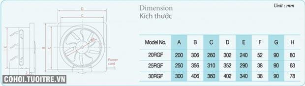 Quạt thông gió gắn tường KDK 20RGF