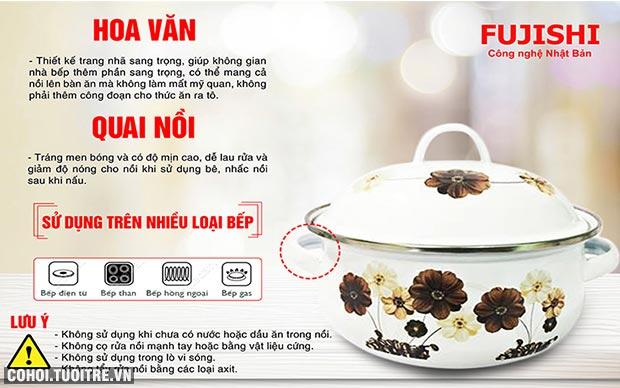 Bộ 5 nồi tráng men FUJISHI FJ-501A nấu trên bếp từ