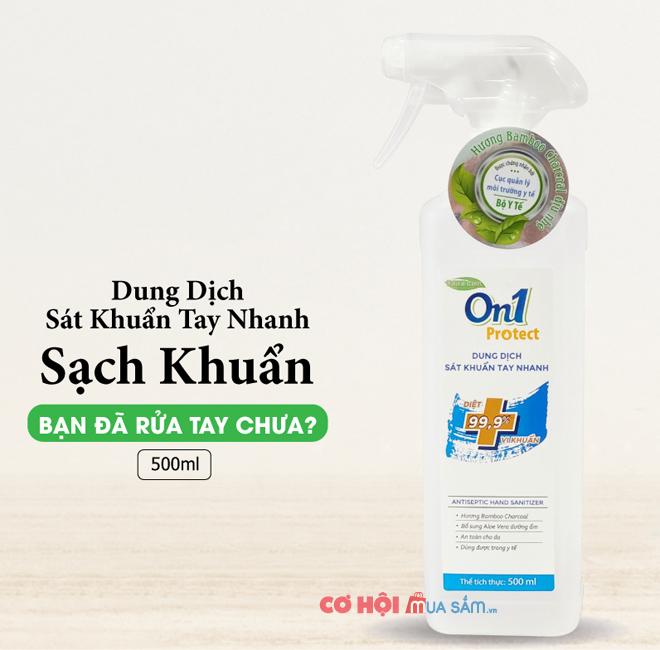Thùng 20 chai nước xịt On1 500ml rửa tay sát khuẩn nhanh khô