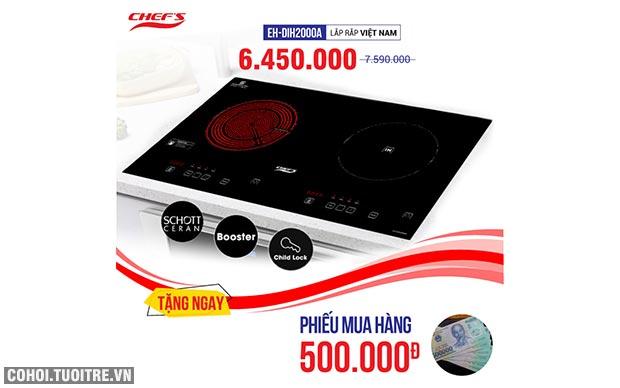 Bếp từ đôi hồng ngoại 2 lò cảm ứng CHEFS EH-MIX2000A