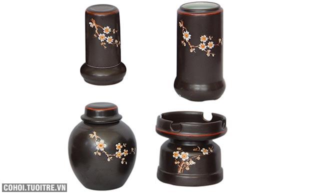 Bộ ấm chén vai vuông khắc hoa mai - đầy đủ phụ kiện