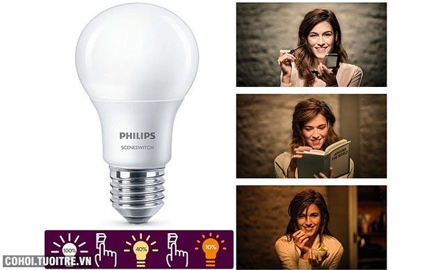 Đèn Philips LED Scene Switch 3 độ sáng 9W 6500K đuôi E27