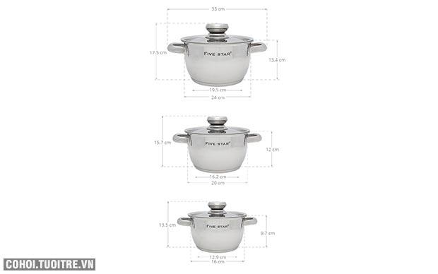 Bộ nồi inox 3 đáy Fivestar FS06C-1 nấu trên bếp từ