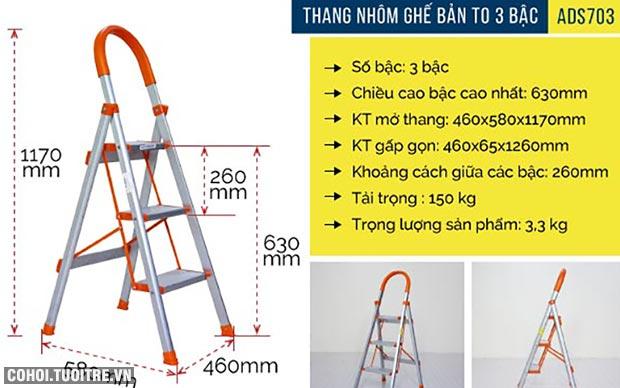 Thang nhôm ghế 3 bậc xếp gọn bản to Advindeq ADS703