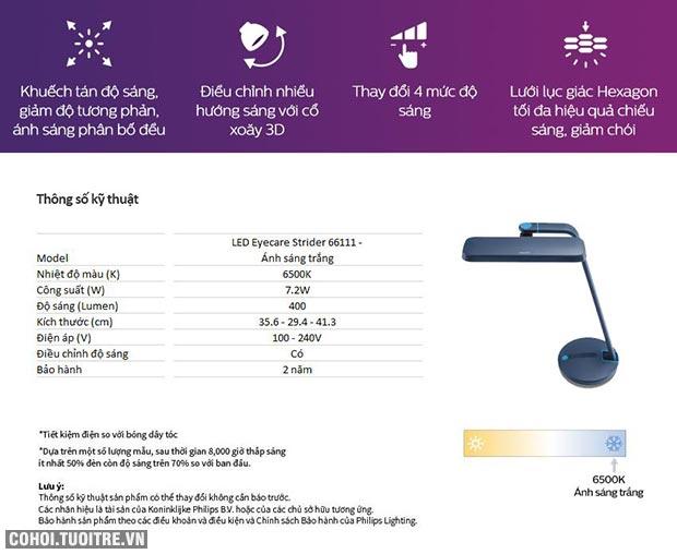 Đèn bàn, đèn chống cận Philips LED EyeCare Strider 66111 7.2W
