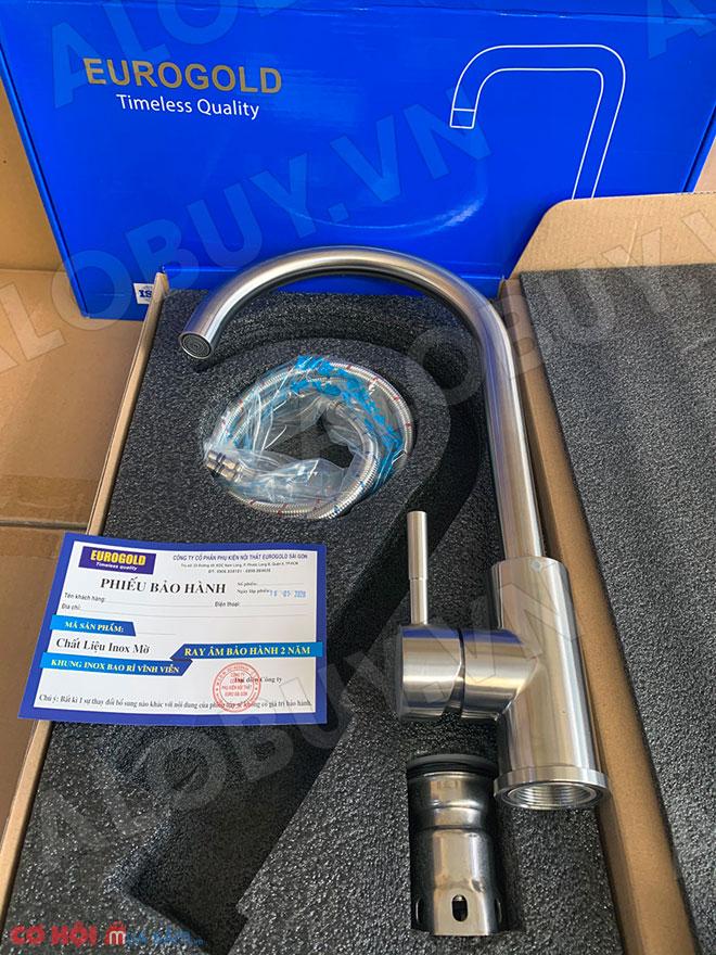 Vòi rửa bát inox 304 nóng lạnh Eurogold EUF016M