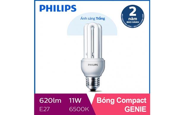 Bóng đèn compact 3U Philips Genie 11W 6500K E27 tiết kiệm điện - Ánh sáng trắng