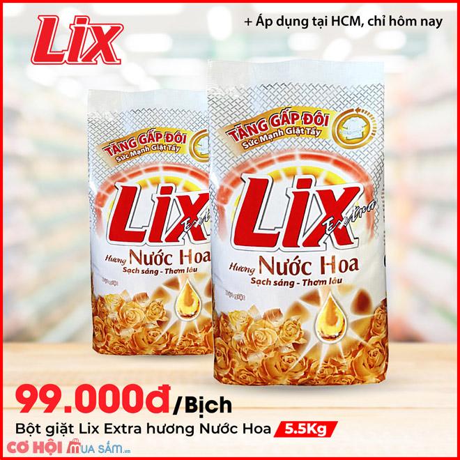 Bột giặt Lix Extra hương nước hoa 5.5Kg