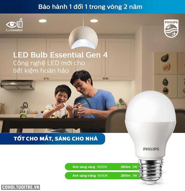 Bóng đèn Philips LED tiết kiệm điện Essential Gen4 3W E27 A60 - Ánh sáng trắng