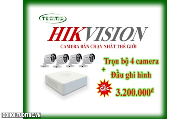 Bộ 4 camera Hikvision 1MP