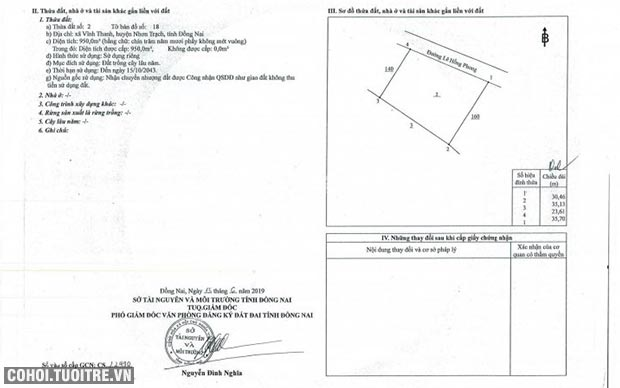 Cần bán đất ở xã Vĩnh Thanh, Nhơn Trạch, Đồng Nai