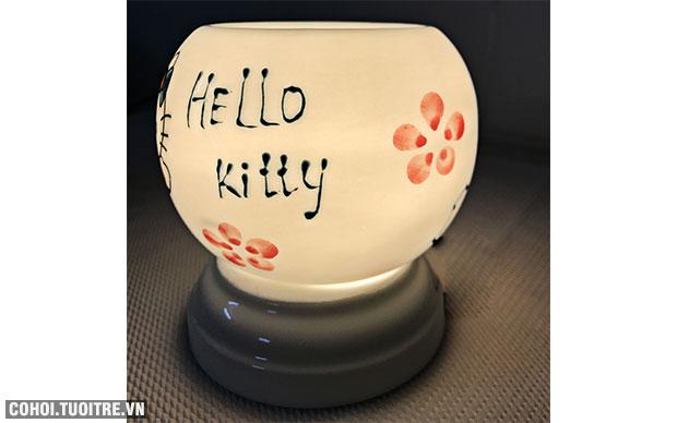 Đèn Hello Kitty xông tinh dầu bằng điện, gốm Bát Tràng
